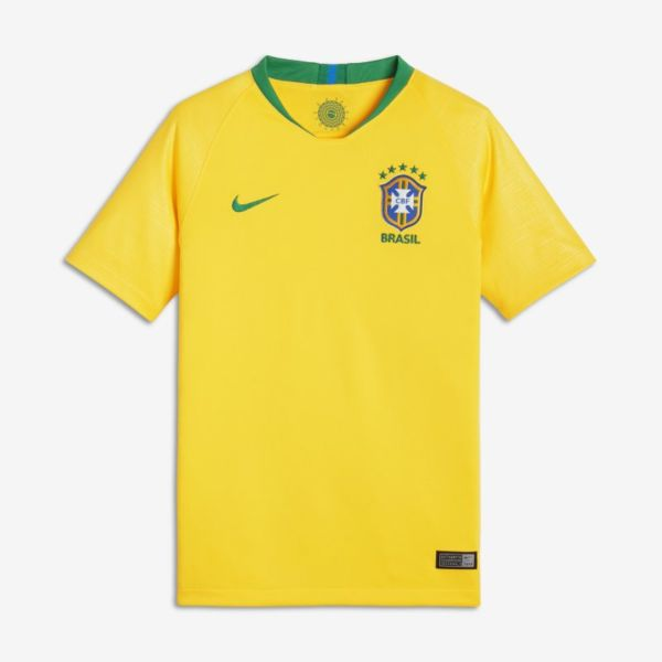2018 Brasil CBF Stadium Home Camiseta de fútbol - Niño/a - Amarillo