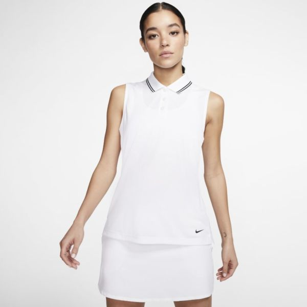 Nike Dri-FIT Victory Polo de golf sin mangas - Mujer - Blanco