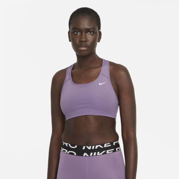 Nike Dri-FIT Swoosh Sujetador deportivo de sujeción media sin almohadilla - Mujer - Morado