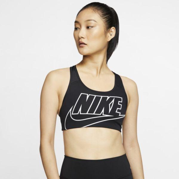 Nike Swoosh Sujetador deportivo de sujeción media con almohadilla de una sola pieza - Mujer - Negro