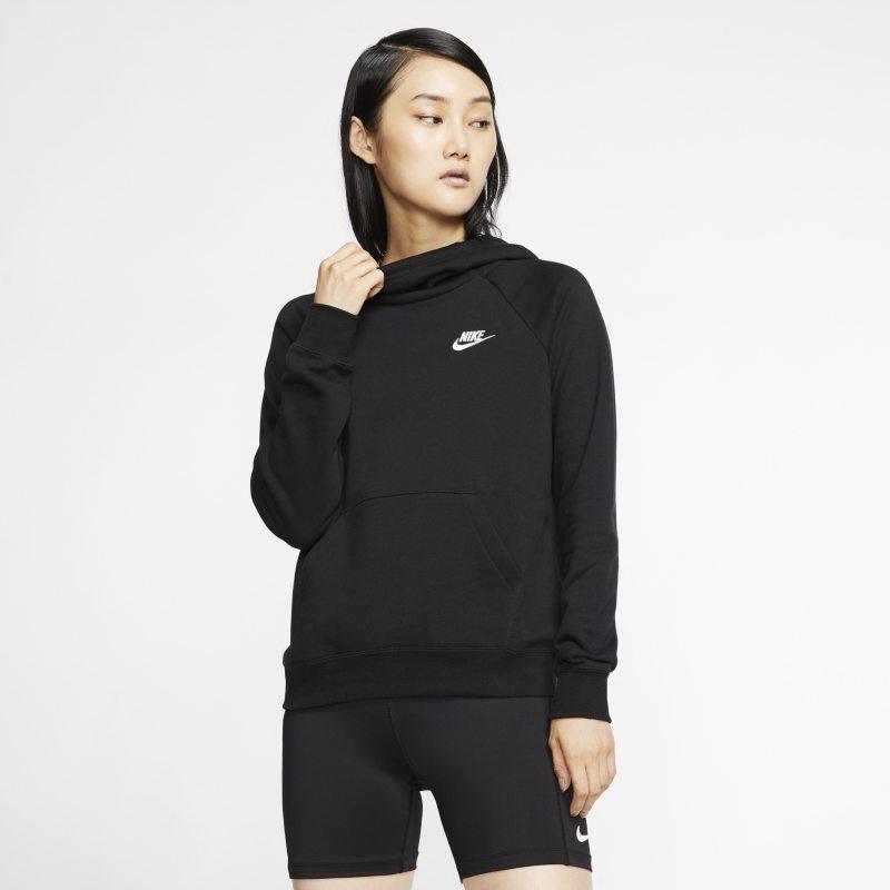 Nike Sportswear Essential Sudadera con capucha de tejido Fleece con cuello de embudo - Mujer - Negro