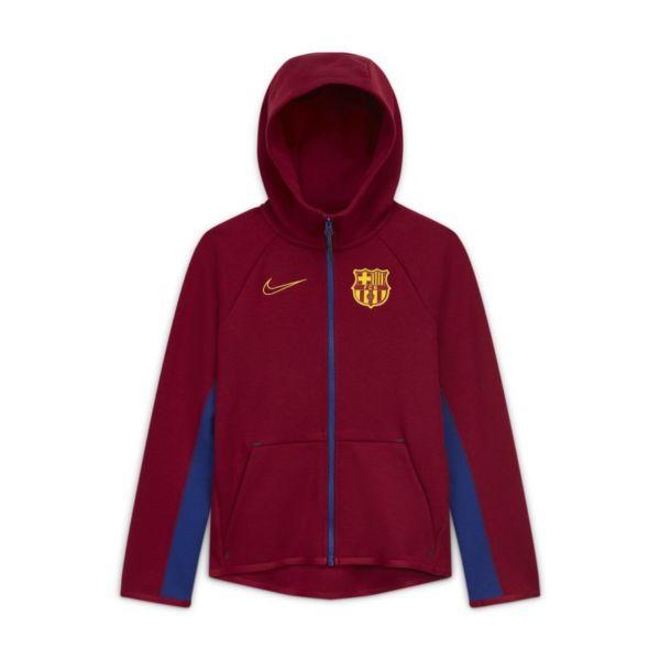 FC Barcelona Tech Fleece Sudadera con capucha de fútbol con cremallera completa - Niño/a - Rojo