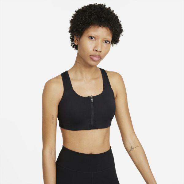Nike Dri-FIT Shape Sujetador deportivo de sujeción alta con almohadilla y cremallera delantera - Mujer - Negro