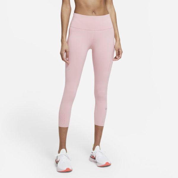 Nike Epic Luxe Leggings de running cortos de talle medio con bolsillos - Mujer - Rosa