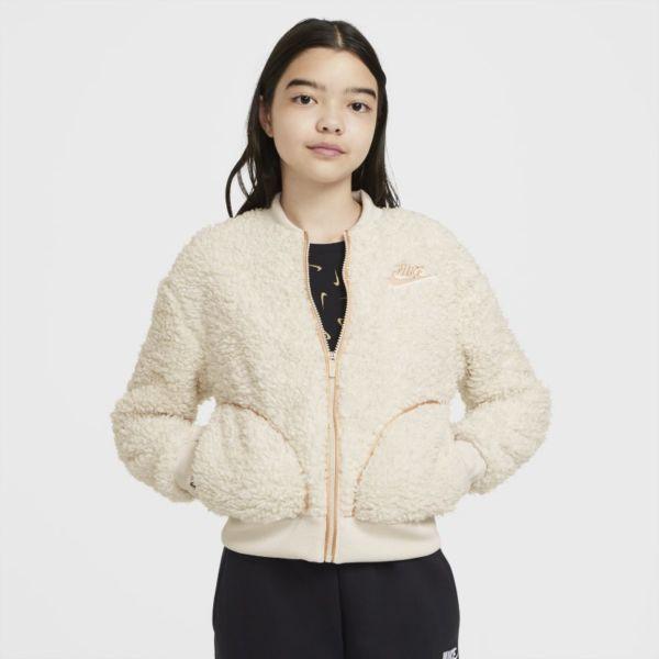 Nike Sportswear Chaqueta de Sherpa con cremallera completa - Niña - Blanco