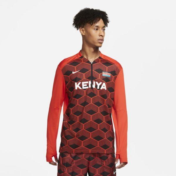 Nike Dri-FIT Team Kenya Camiseta de running con media cremallera - Hombre - Rojo