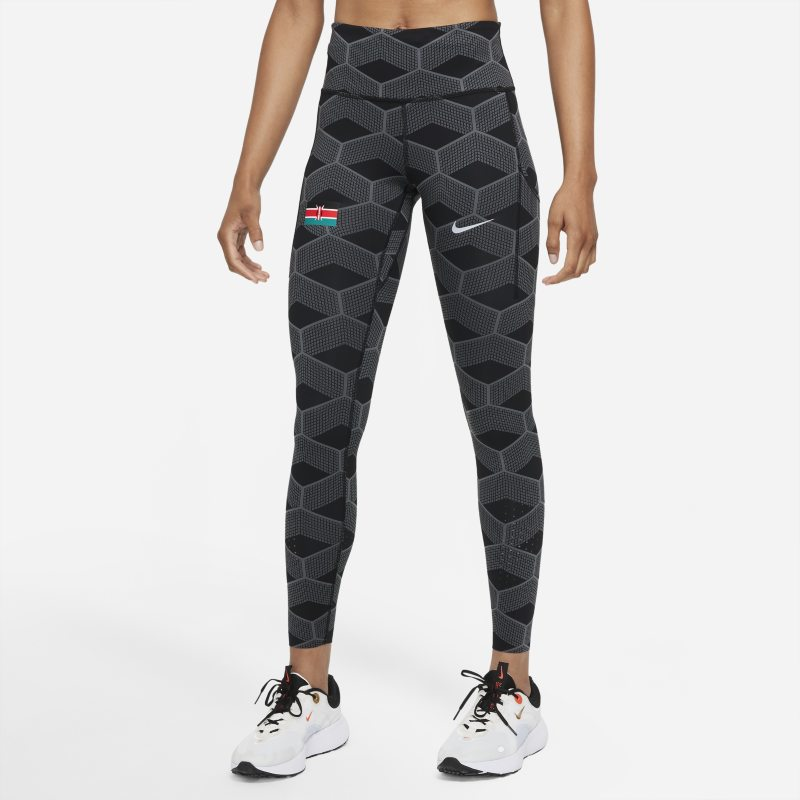 Nike Team Kenya Epic Luxe Leggings de running de talle medio - Mujer - Gris