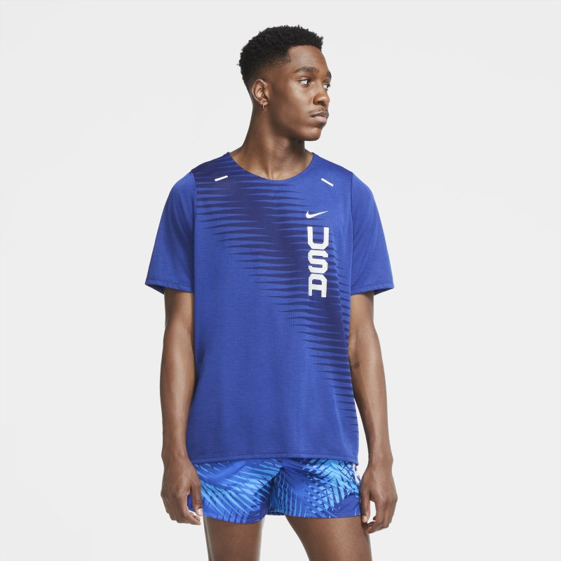 Nike Dri-FIT Team USA Rise 365 Camiseta de manga corta de running - Hombre - Azul