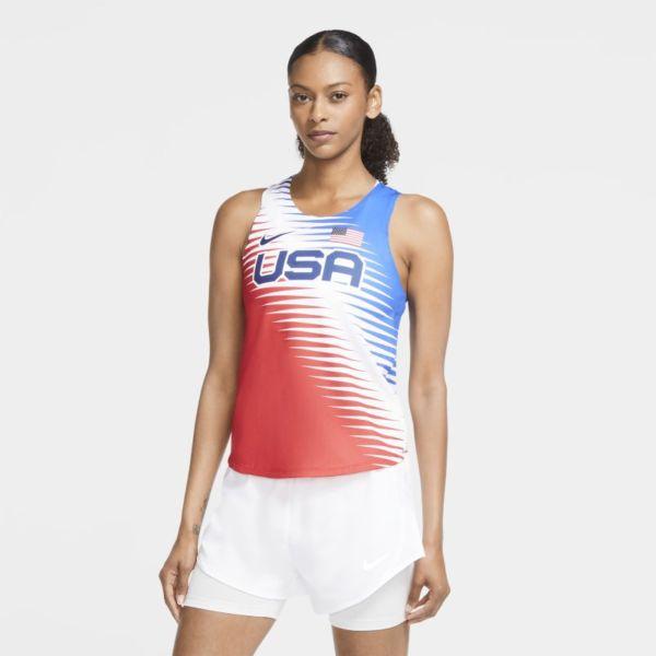 Nike Dri-FIT ADV Team USA AeroSwift Camiseta de running - Mujer - Rojo