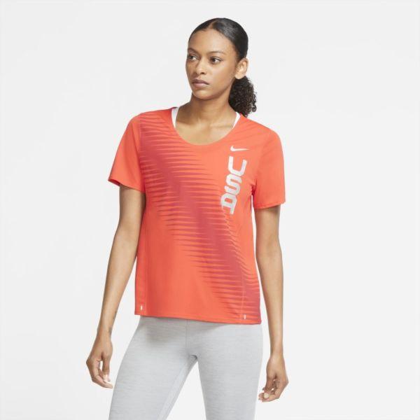 Nike Team USA City Sleek Camiseta de running - Mujer - Rojo