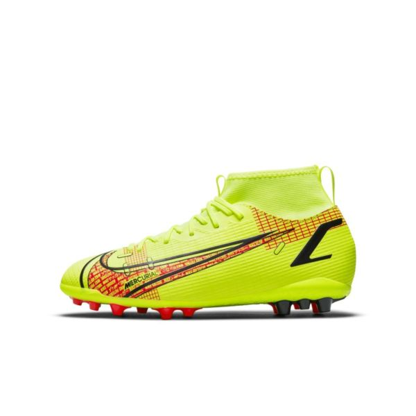 Nike Jr. Mercurial Superfly 8 Academy AG Botas de fútbol para césped artificial - Niño/a y niño/a pequeño/a - Amarillo