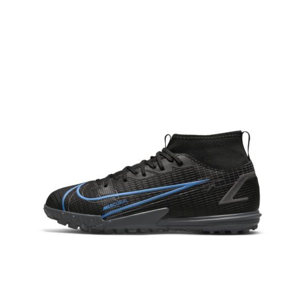 Nike Jr. Mercurial Superfly 8 Academy TF Botas de fútbol para hierba artificial o moqueta - Turf - Niño/a y niño/a pequeño/a - Negro