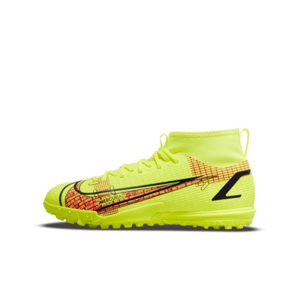 Nike Jr. Mercurial Superfly 8 Academy TF Botas de fútbol para hierba artificial o moqueta - Turf - Niño/a y niño/a pequeño/a - Amarillo
