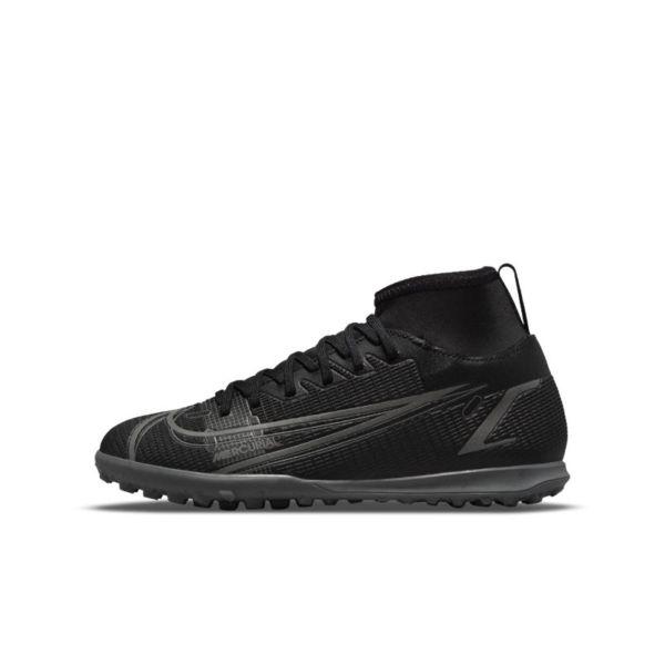 Nike Jr. Mercurial Superfly 8 Club TF Botas de fútbol para hierba artificial o moqueta - Turf - Niño/a y niño/a pequeño/a - Negro