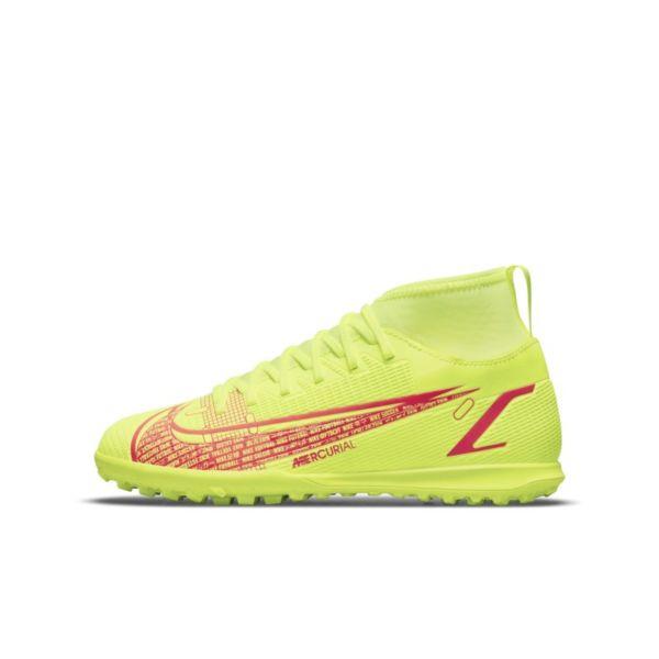 Nike Jr. Mercurial Superfly 8 Club TF Botas de fútbol para hierba artificial o moqueta - Turf - Niño/a y niño/a pequeño/a - Amarillo