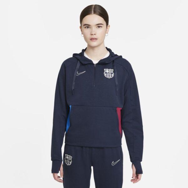 FC Barcelona Sudadera con capucha de fútbol de tejido Fleece y cremallera 1/4 - Mujer - Azul