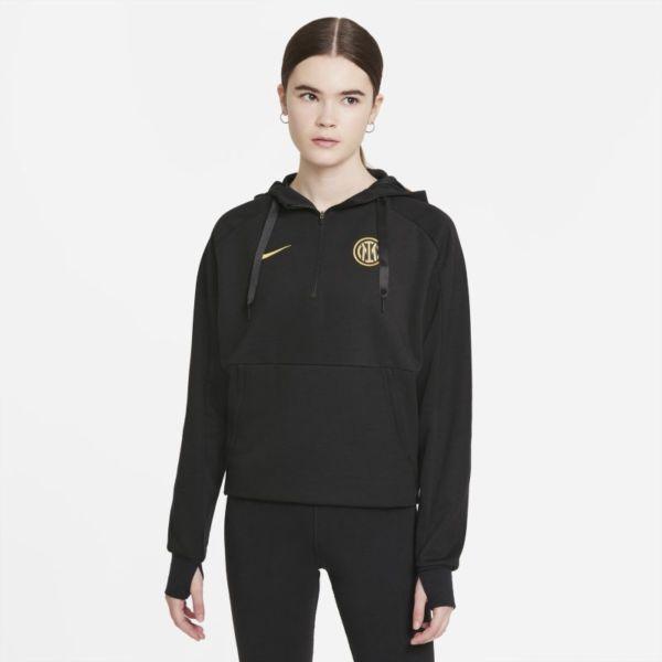 Inter de Milán Sudadera con capucha de fútbol y cremallera 1/4 - Mujer - Negro