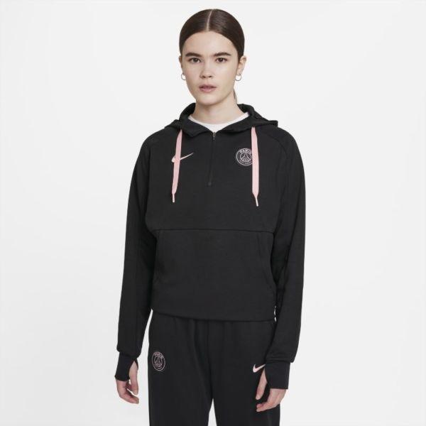 París Saint-Germain Sudadera con capucha de fútbol de tejido Fleece y cremallera 1/4 - Mujer - Negro