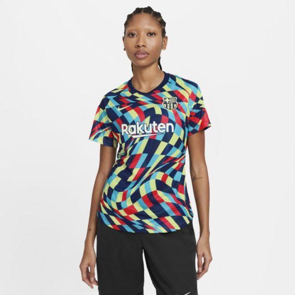 FC Barcelona Camiseta de fútbol de manga corta para antes del partido - Mujer - Azul