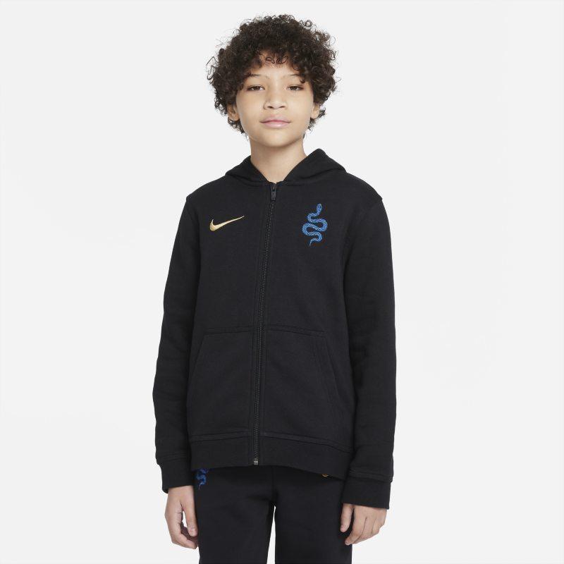 Inter de Milán Sudadera con capucha y cremallera completa de tejido Fleece - Niño/a - Negro