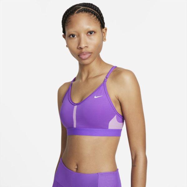 Nike Dri-FIT Indy Sujetador deportivo de sujeción ligera con acolchado y cuello en V - Mujer - Morado