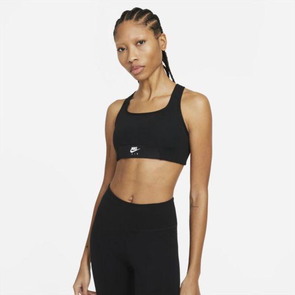 Nike Air Dri-FIT Swoosh Sujetador deportivo de sujeción media con almohadilla de una sola pieza y abertura - Mujer - Negro