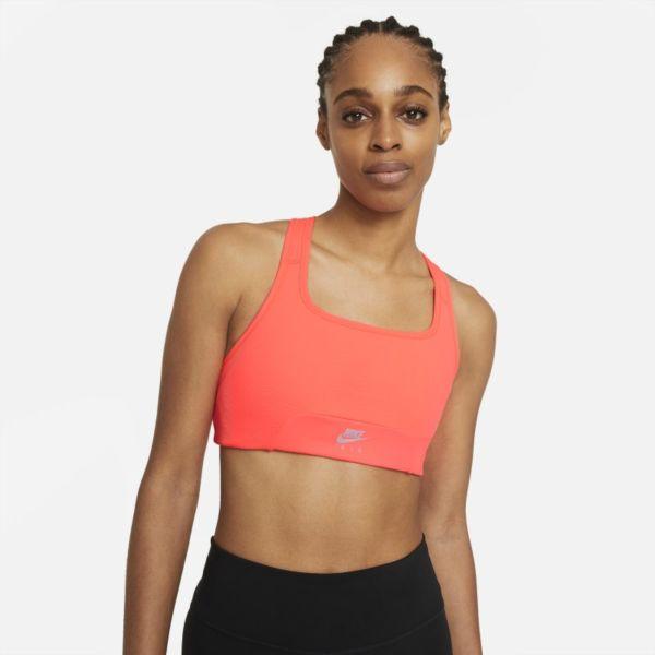 Nike Air Dri-FIT Swoosh Sujetador deportivo de sujeción media con almohadilla de una sola pieza y abertura - Mujer - Naranja