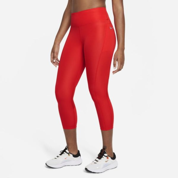Nike Fast Leggings de running cortos de talle medio - Mujer - Rojo