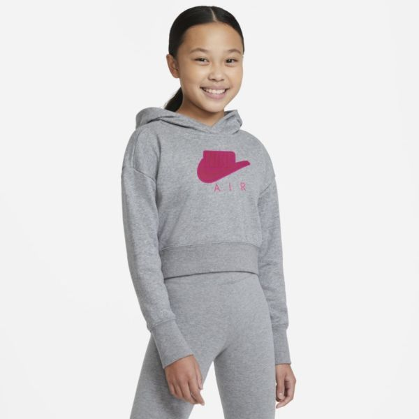 Nike Air Sudadera con capucha corta de tejido French Terry - Niña - Gris
