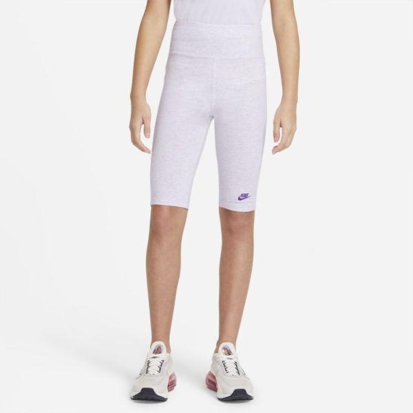 Nike Sportswear Pantalón corto de ciclismo de talle alto de 23cm - Niña - Morado