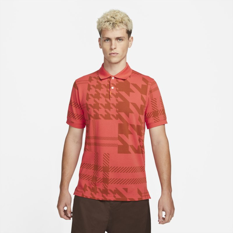 The Nike Polo Polo de ajuste entallado con estampado a cuadros- Hombre - Rojo
