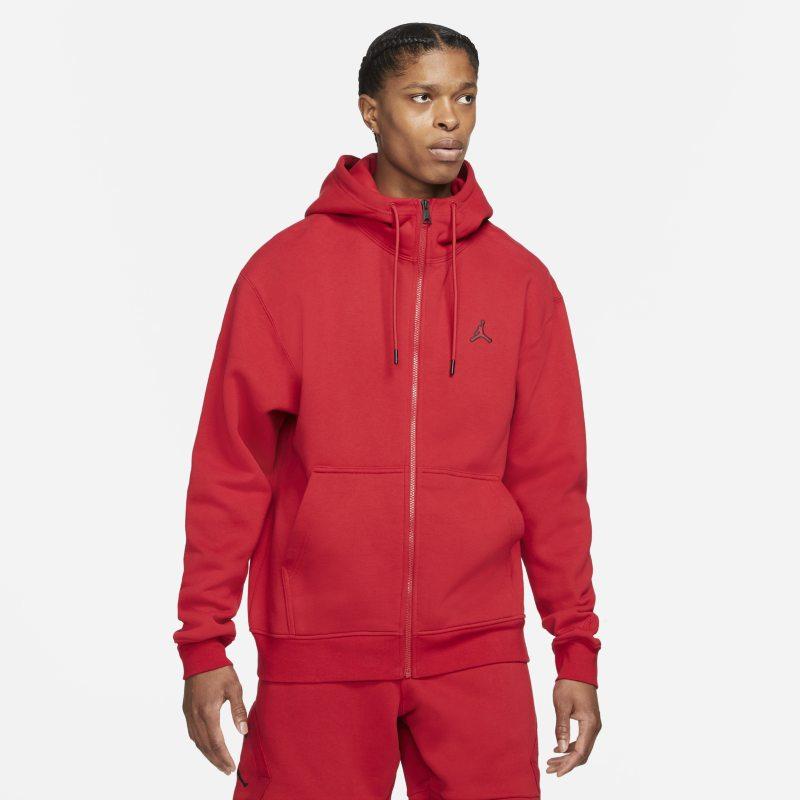 Jordan Essentials Sudadera con capucha de tejido Fleece con cremallera completa - Hombre - Rojo