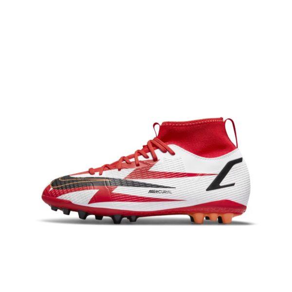 Nike Jr. Mercurial Superfly 8 Academy CR7 AG Botas de fútbol para terrenos artificiales - Niño/a y niño/a pequeño/a - Rojo