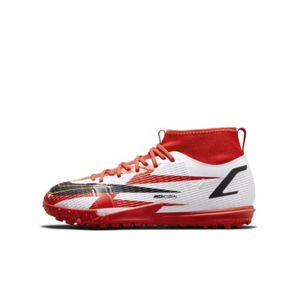 Nike Jr. Mercurial Superfly 8 Academy CR7 TF Botas de fútbol para moqueta - Turf - Niño/a y niño/a pequeño/a - Rojo