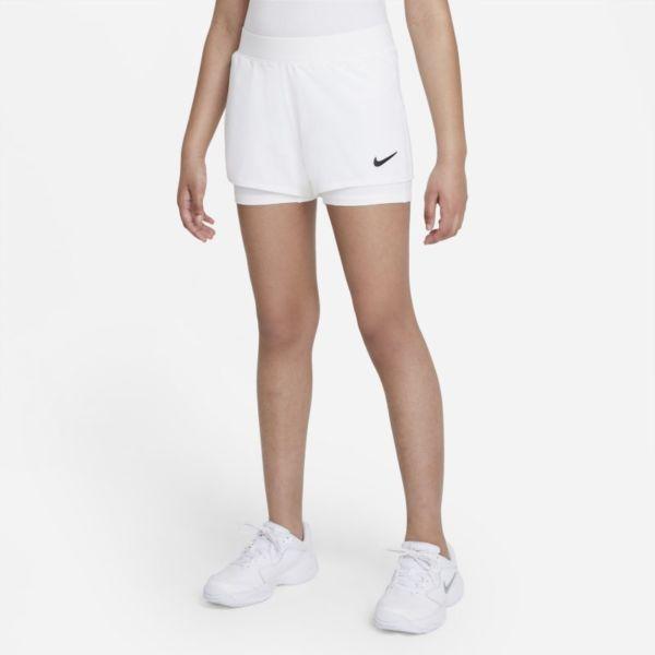 NikeCourt Dri-FIT Victory Pantalón corto de tenis - Niña - Blanco