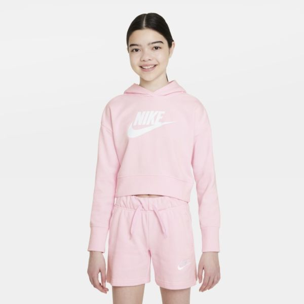 Nike Sportswear Club Sudadera con capucha corta de tejido French terry - Niña - Rosa