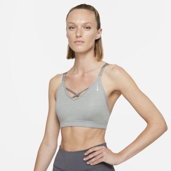 Nike Yoga Dri-FIT Indy Sujetador deportivo de sujeción ligera con acolchado y tirantes - Mujer - Gris