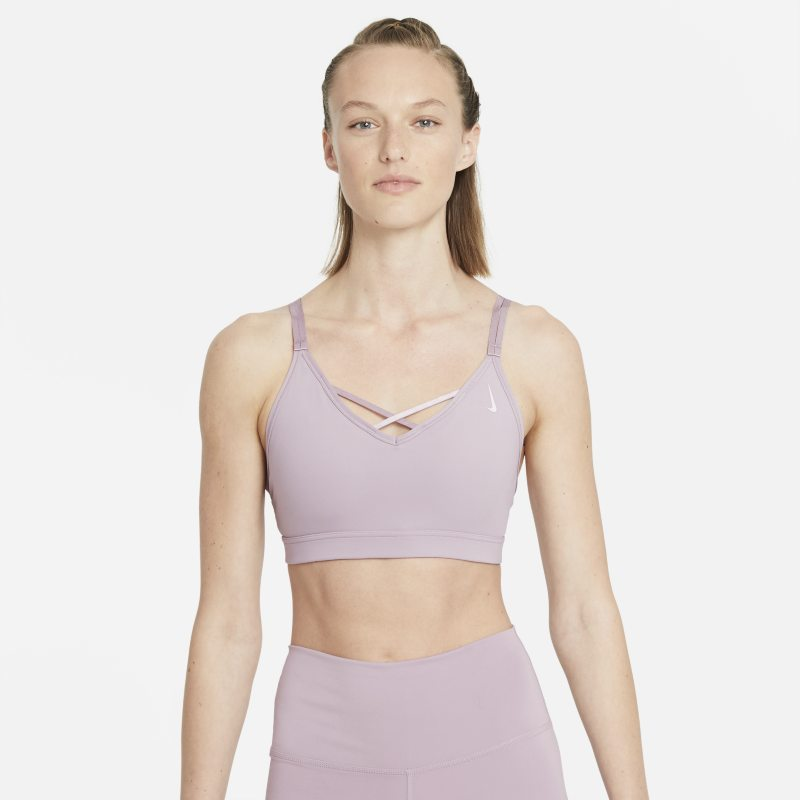 Nike Yoga Dri-FIT Indy Sujetador deportivo de sujeción ligera con acolchado y tirantes - Mujer - Morado