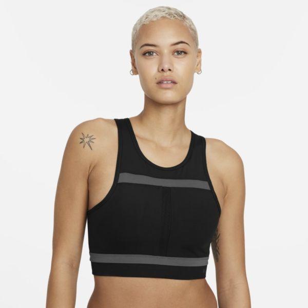 Nike Dri-FIT Swoosh Run Division Sujetador deportivo de sujeción media con almohadilla de una sola pieza y escote alto - Mujer - Negro
