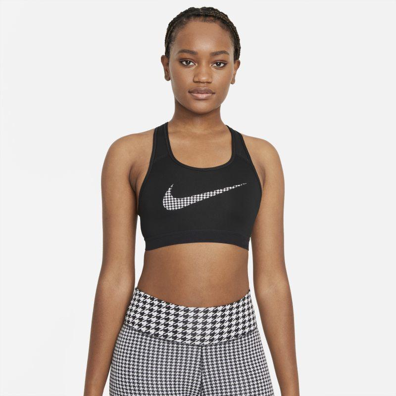 Nike Dri-FIT Swoosh Icon Clash Sujetador deportivo de sujeción media sin almohadilla con estampado - Mujer - Negro