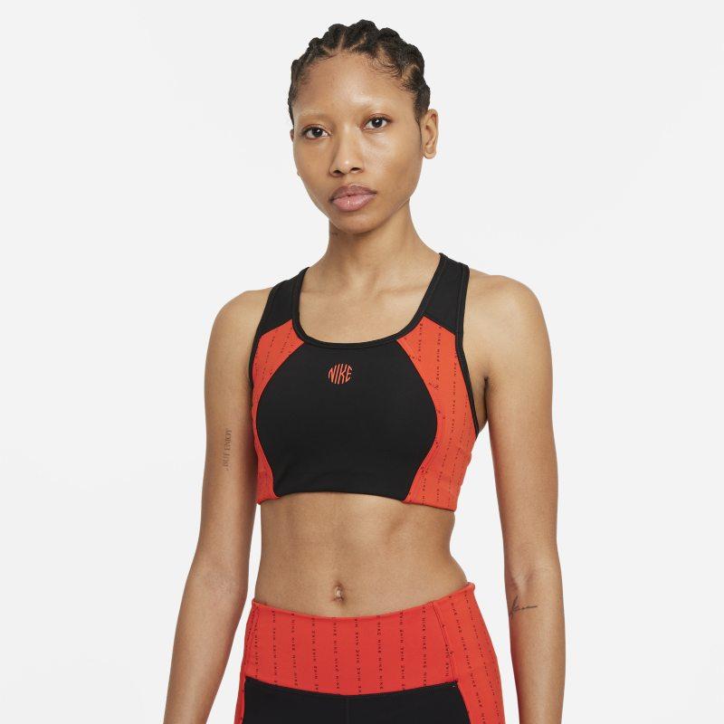 Nike Dri-FIT Swoosh Icon Clash Sujetador deportivo de sujeción media con almohadilla de una sola pieza y abertura - Mujer - Negro