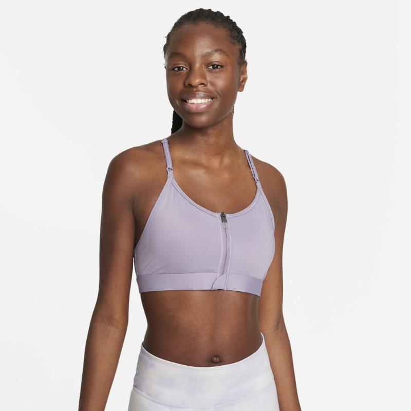 Nike Dri-FIT Indy Sujetador deportivo de sujeción ligera con almohadilla y cremallera frontal - Mujer - Morado