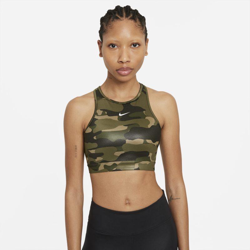 Nike Dri-FIT Swoosh Sujetador deportivo de sujeción media con almohadilla de una sola pieza y escote alto - Mujer - Marrón