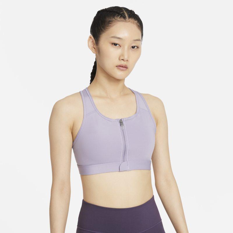 Nike Dri-FIT Swoosh Sujetador deportivo de sujeción media con almohadillas y cremallera delantera - Mujer - Morado