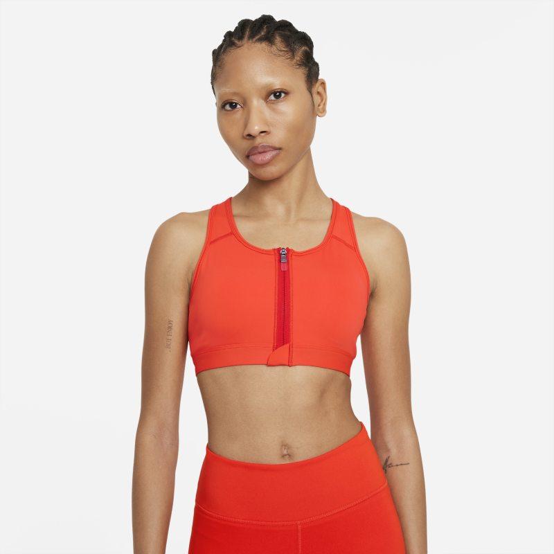 Nike Dri-FIT Swoosh Sujetador deportivo de sujeción media con almohadillas y cremallera delantera - Mujer - Rojo