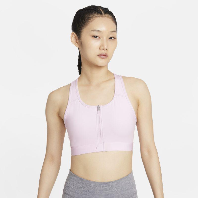 Nike Dri-FIT Swoosh Sujetador deportivo de sujeción media con almohadillas y cremallera delantera - Mujer - Rosa