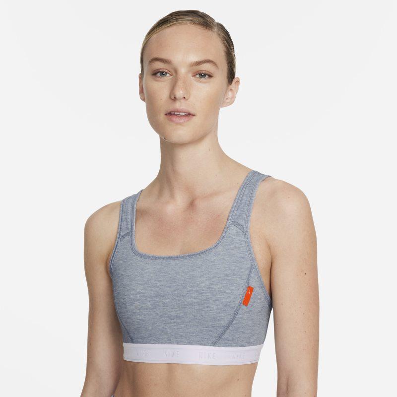 Nike Dri-FIT Swoosh Soft Tee Sujetador deportivo de sujeción media con almohadilla de una sola pieza - Mujer - Gris
