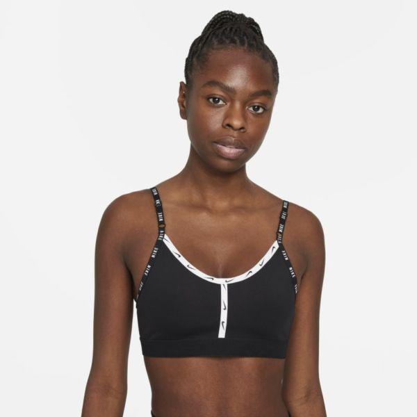 Nike Dri-FIT Indy Sujetador deportivo de sujeción ligera con acolchado y cinta con logotipo - Mujer - Negro