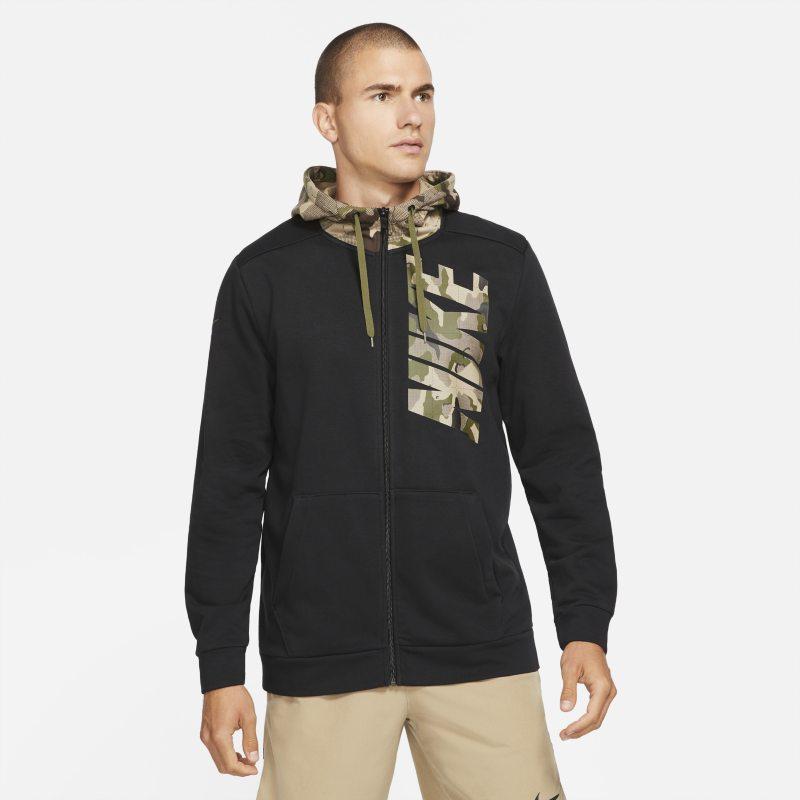 Nike Dri-FIT Sudadera con capucha de entrenamiento de camuflaje con cremallera completa - Hombre - Negro