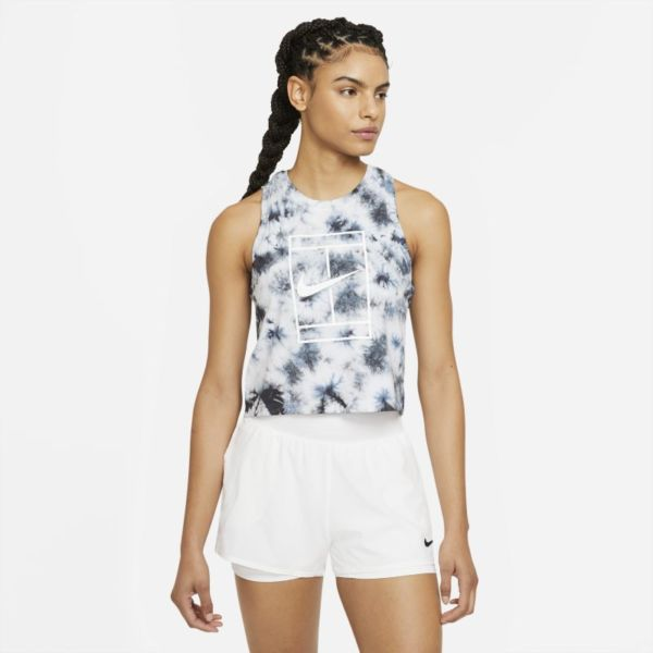 NikeCourt Camiseta de tirantes de tenis con estampado tie-dye - Mujer - Blanco